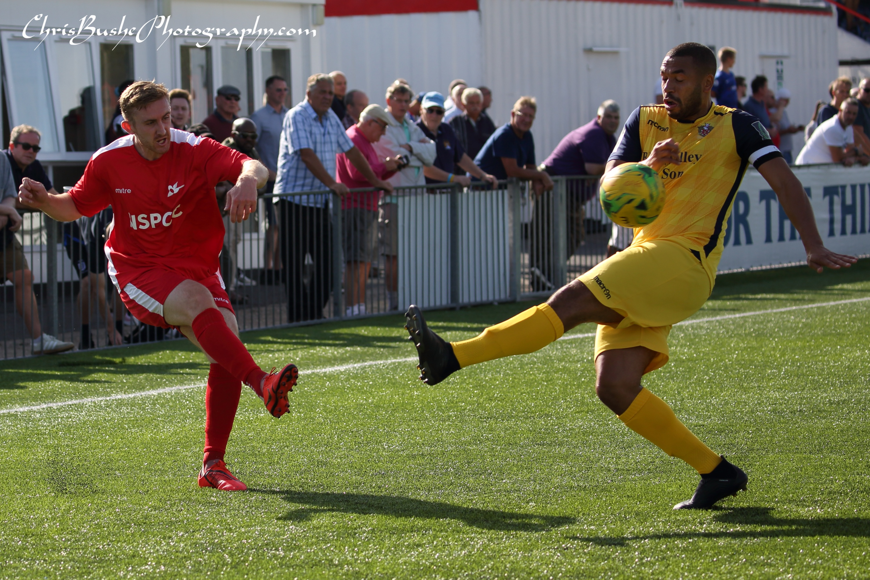 Luke Read of Carshalton crossing from the right wing in first half