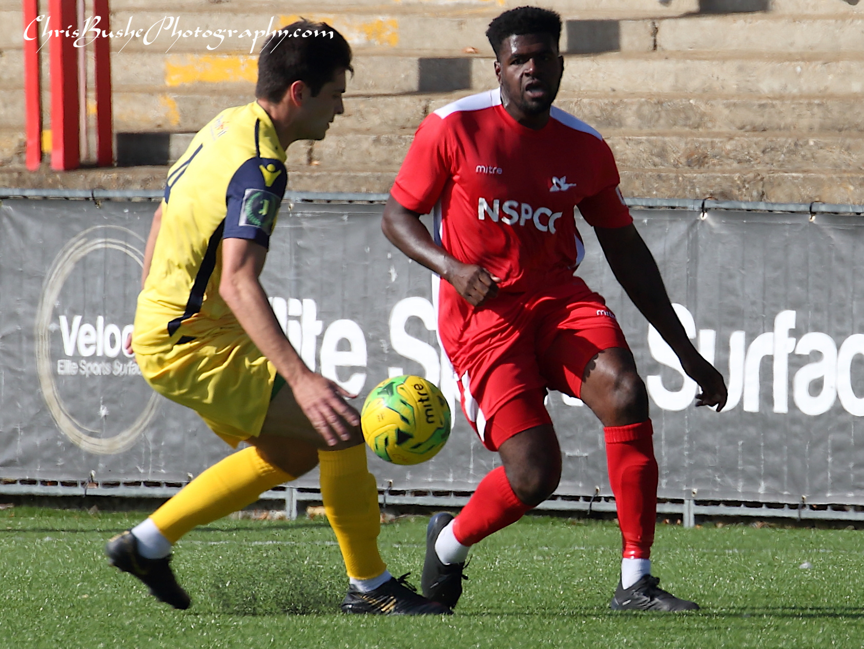 Paris Hamilton-Downes Carshalton captain attacking left wing .Defender Joe Christou